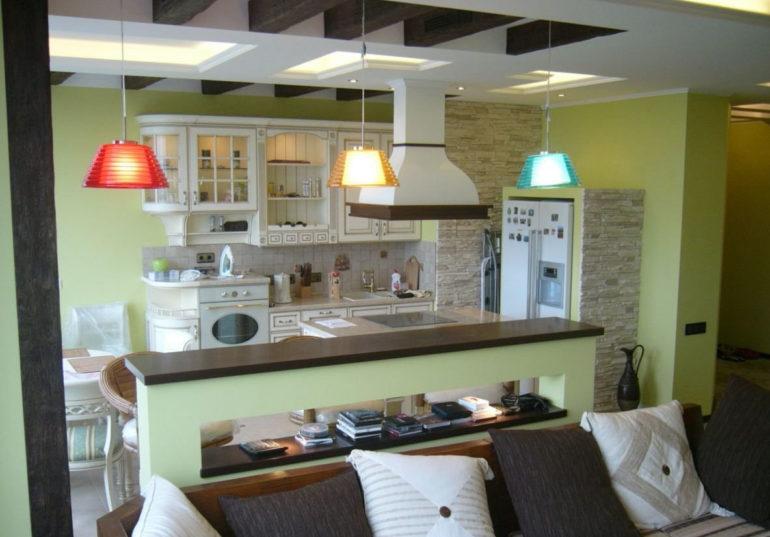Zonage de la cuisine-salon avec éclairage