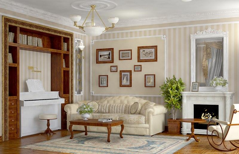 Mūsdienīgas mājas viesistabas interjers angļu stilā