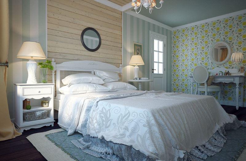 Комбинацията от тапети с различни шарки в интериора на спалнята