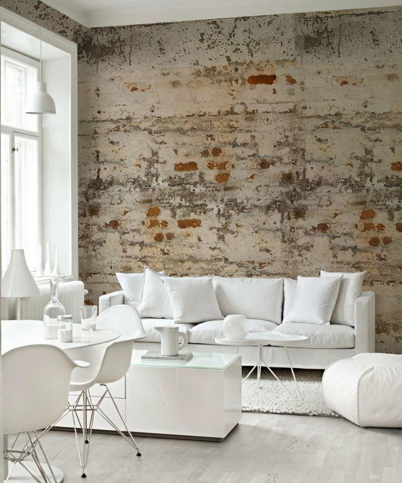 Imitation of a ragged brick wall using paper wallpaper