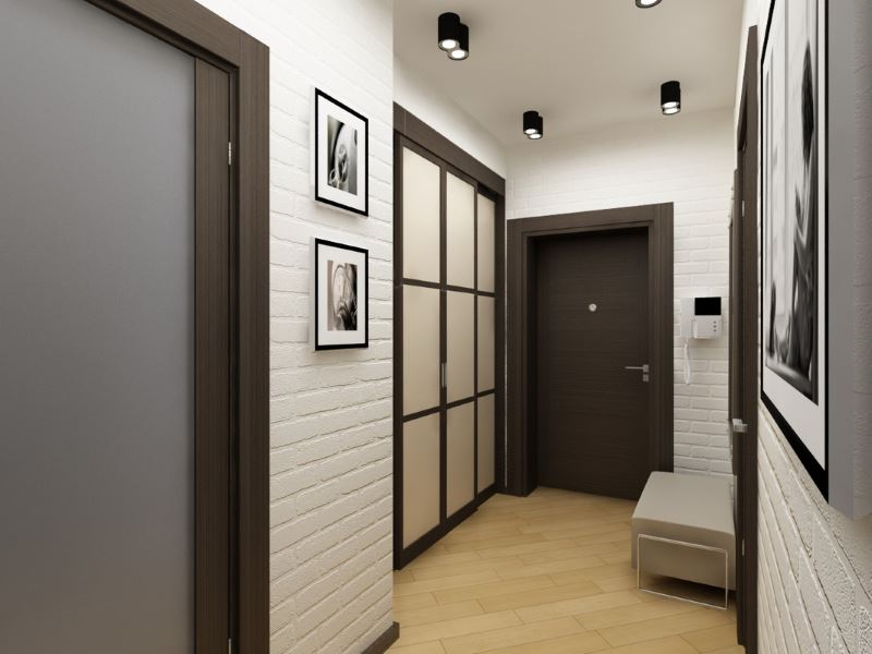 Hallway with white brick walls