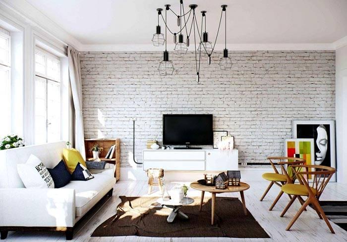 Snow-white Scandinavian style living room interior