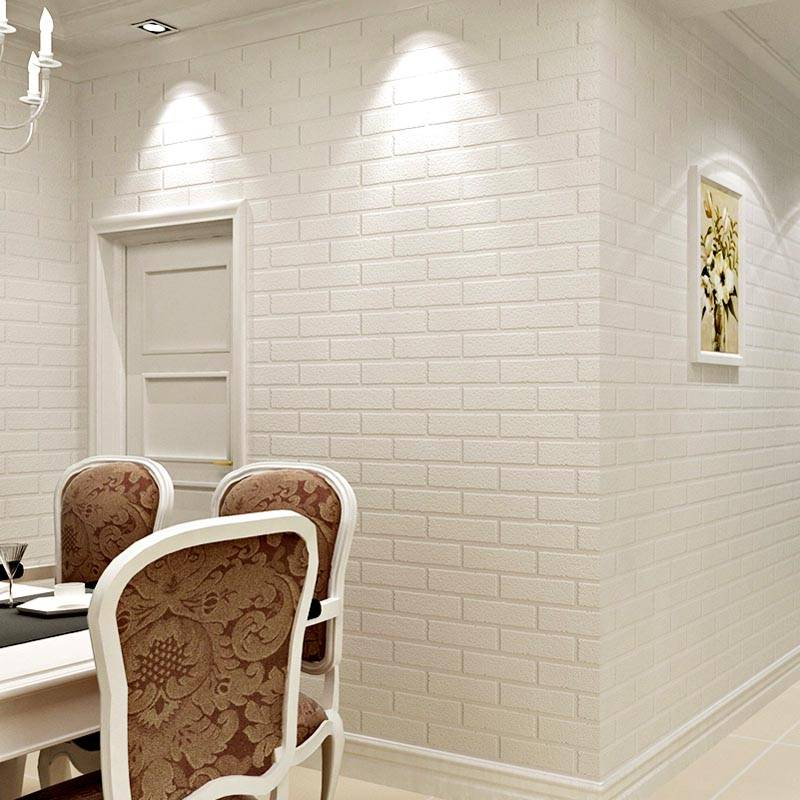 White brick wall in the living room interior