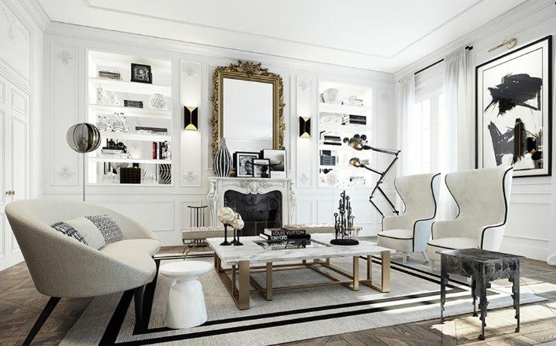 Melnas krāsas izmantošana klasiskās viesistabas interjerā