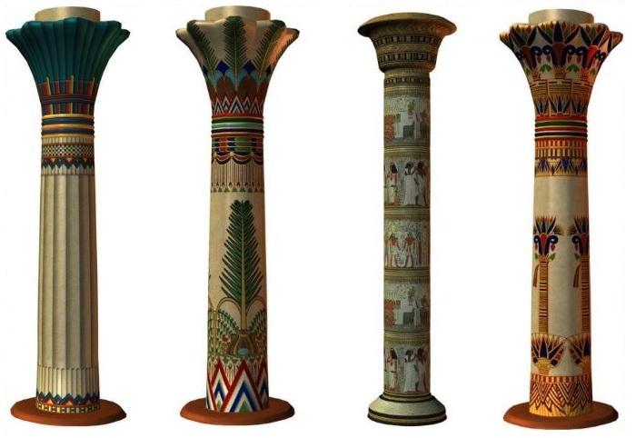 Ēģiptes kolonnu dizaina iespējas