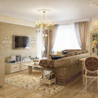 Klasisks modernas viesistabas interjers