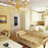 Kristāla lustras virtuves-viesistabas apgaismošanai