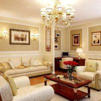 Apgaismojums mūsdienīgā klasiskā stila viesistabā