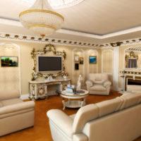 Eiropas stila klasiskās viesistabas interjers