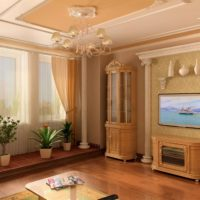 Poliuretāna kolonnas, kas dekorē viesistabu