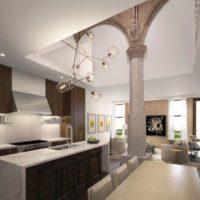 Virtuves-dzīvojamās istabas ar kolonnām dizaina projekts