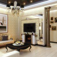 Privātmājas viesistabas ar kolonnu durvīs dizaina projekts