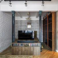 Istabas ar kolonnām interjera dizains