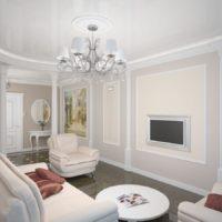 Balta viesistaba ar klasiskā stila kolonnām