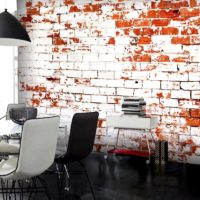 Shabby brick wall in the design of a modern living room