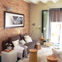 Brick vinyl wallpaper on living room wall