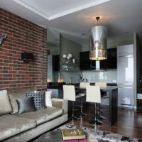 Washable wallpaper under a brick in the design of the living room