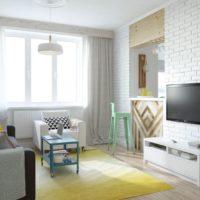 White brick in the living room interior