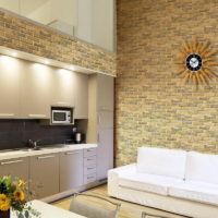 Imitation brick kitchen-living room