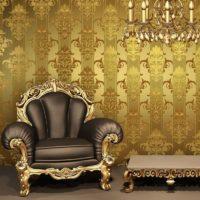 Kožna fotelja sa zlatnom oblogom