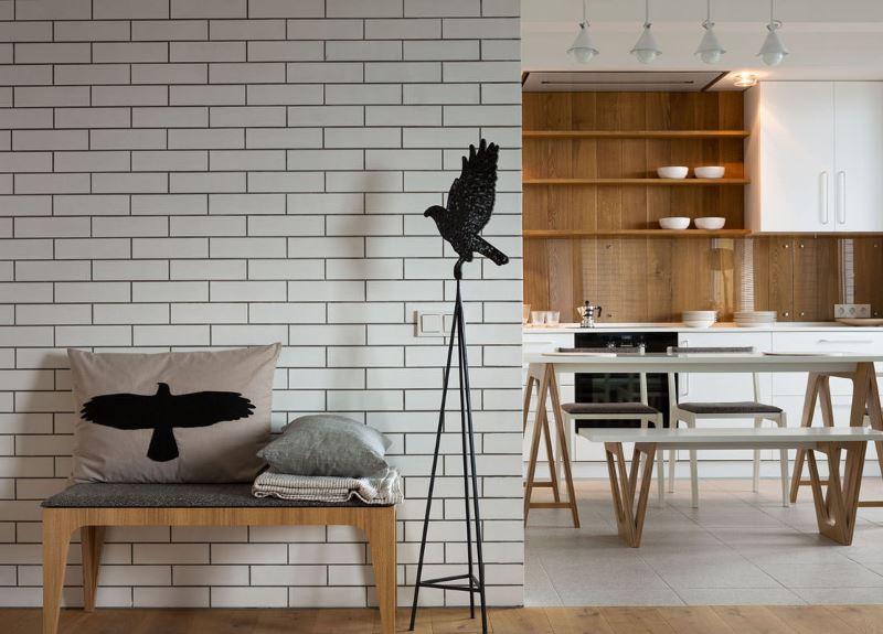 Imitation brick wall with vinyl wallpaper