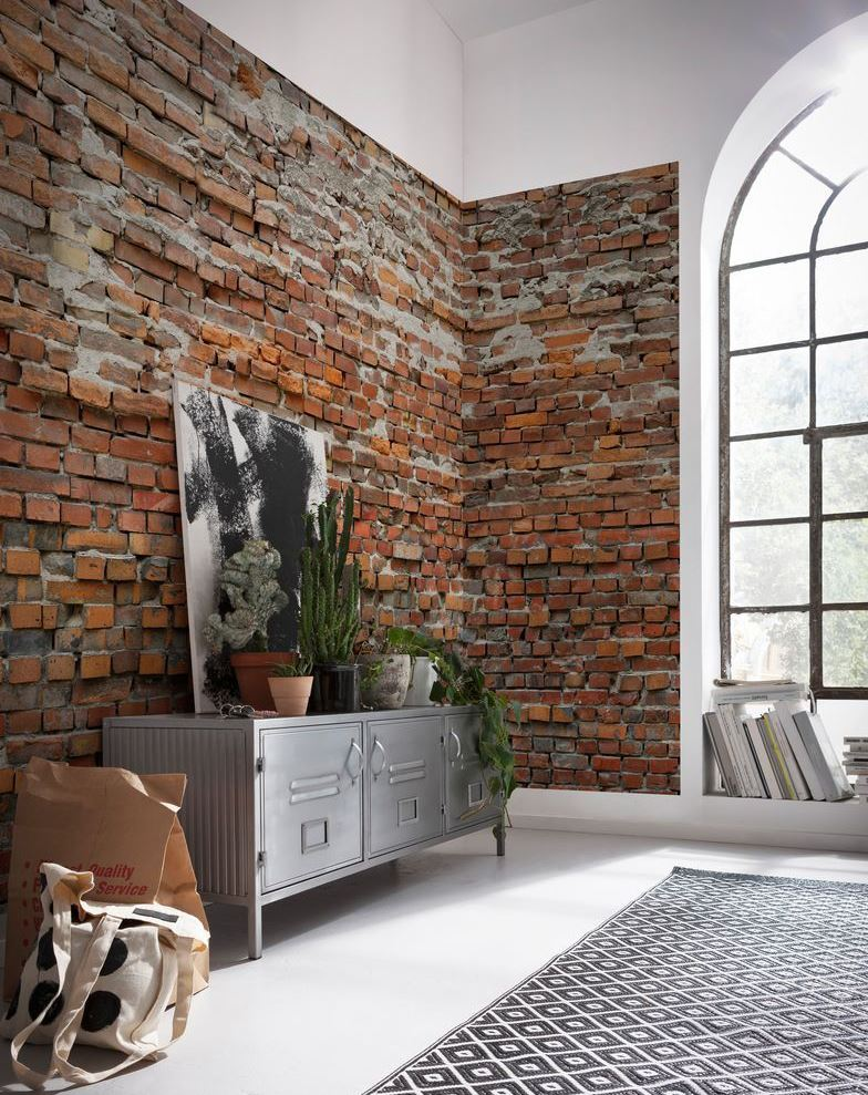 Brick wall in the living room of a private house