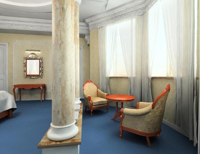 Marmora kolonna privātmājas viesistabā