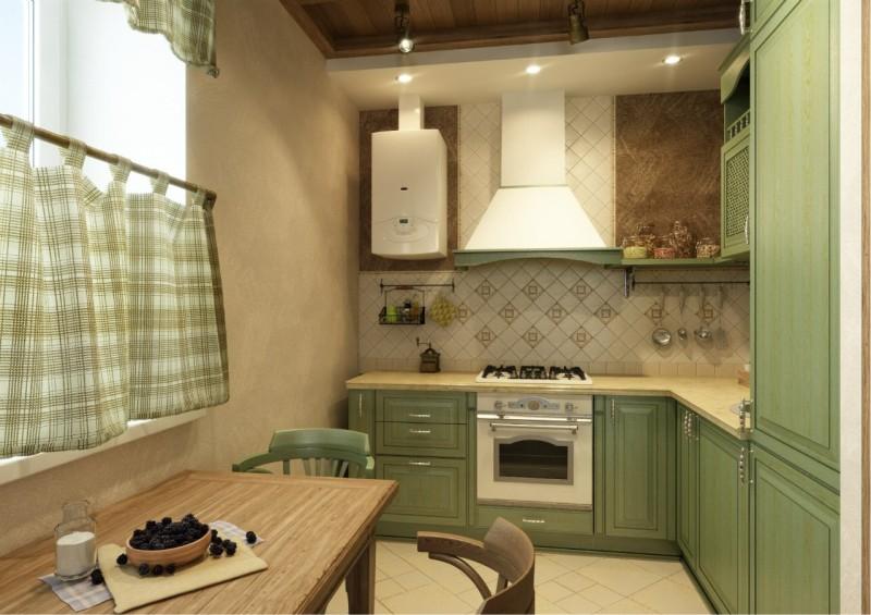Intérieur d'une cuisine de style rustique moderne avec une chaudière à gaz
