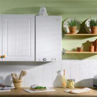 Design intérieur d'une cuisine avec une chaudière à gaz au mur