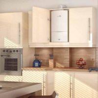 Conception de cuisine avec chauffe-eau à gaz dans une armoire en aggloméré