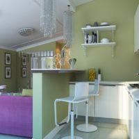 La combinaison de vert et de violet dans la cuisine-salon