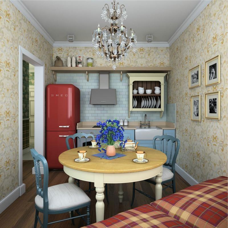L'intérieur d'une petite cuisine d'une maison privée dans un style campagnard