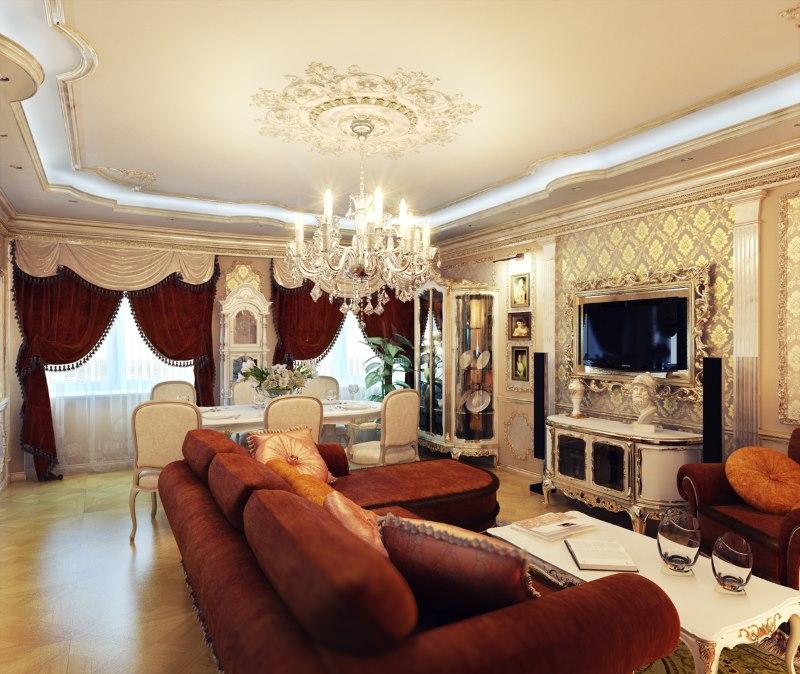Klasiskā stila lustra uz viesistabas griestiem
