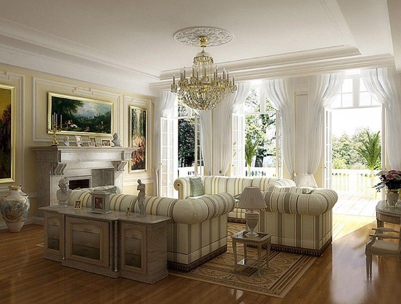 Mīkstās mēbeles klasiskās viesistabas interjerā
