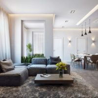 Plaša virtuve-dzīvojamā istaba privātmājā