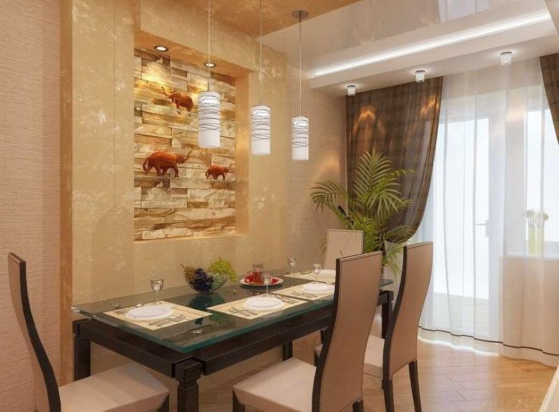 Décoration murale sur la table à manger avec une niche décorative