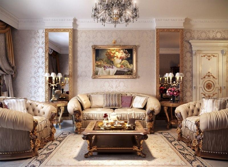 Dzīvojamās istabas sienu apdare ar tapetēm klasiskā stilā