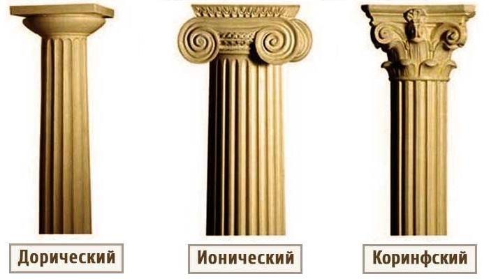 Antīkās kolonnas galveno pasūtījumu piemēri
