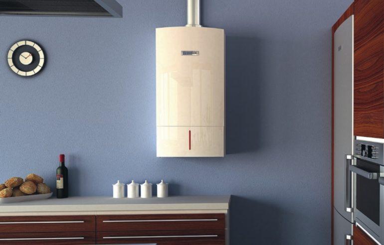 Chaudière à gaz ouverte à l'intérieur de la cuisine