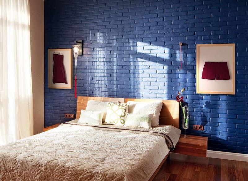 Bedroom interior with wallpaper bricks