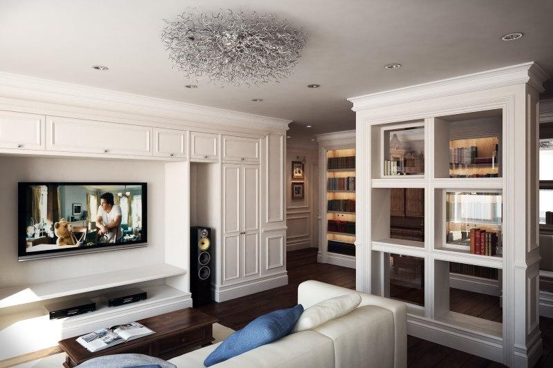 Moderna dizaina klasiskās viesistabas interjers