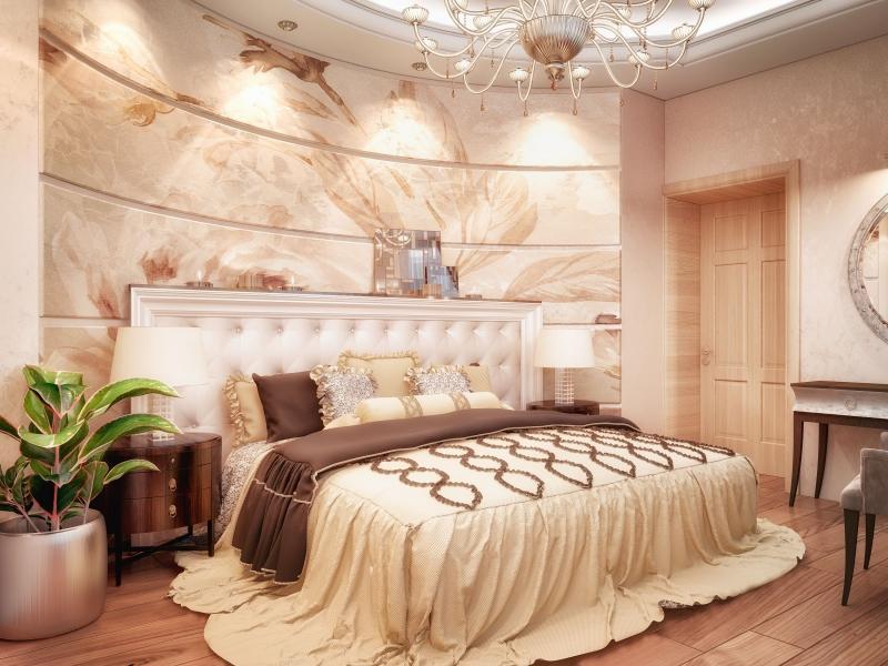 Klasiskas guļamistabas interjers košās krāsās