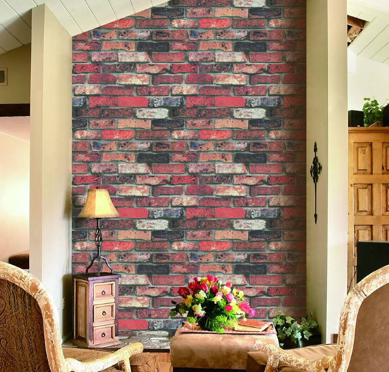 Retro style interior with imitation of old brickwork