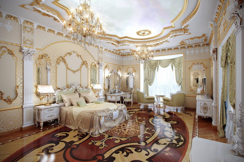 Baroka stila dzīvojamās istabas dizains
