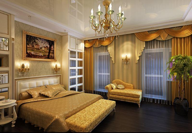 Interijer spavaće sobe zlatne boje