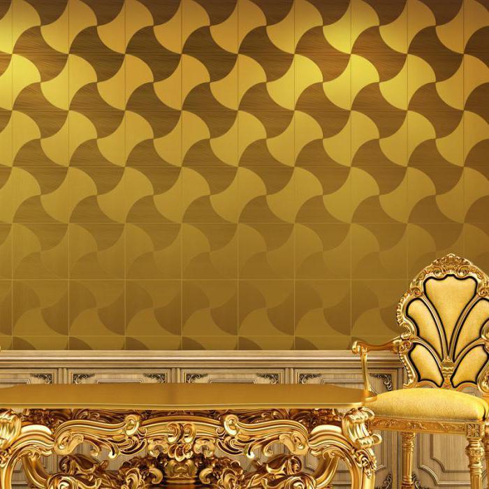 Stolica sa zlatnim presvlakom na pozadini papirnih tapeta