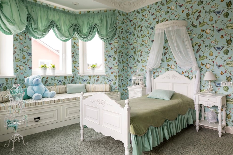 Green mint curtains on the windows of the children's room
