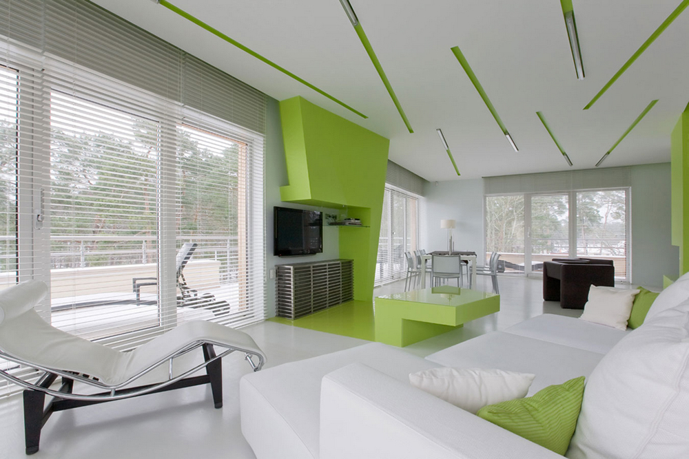 Green in high-tech style interior