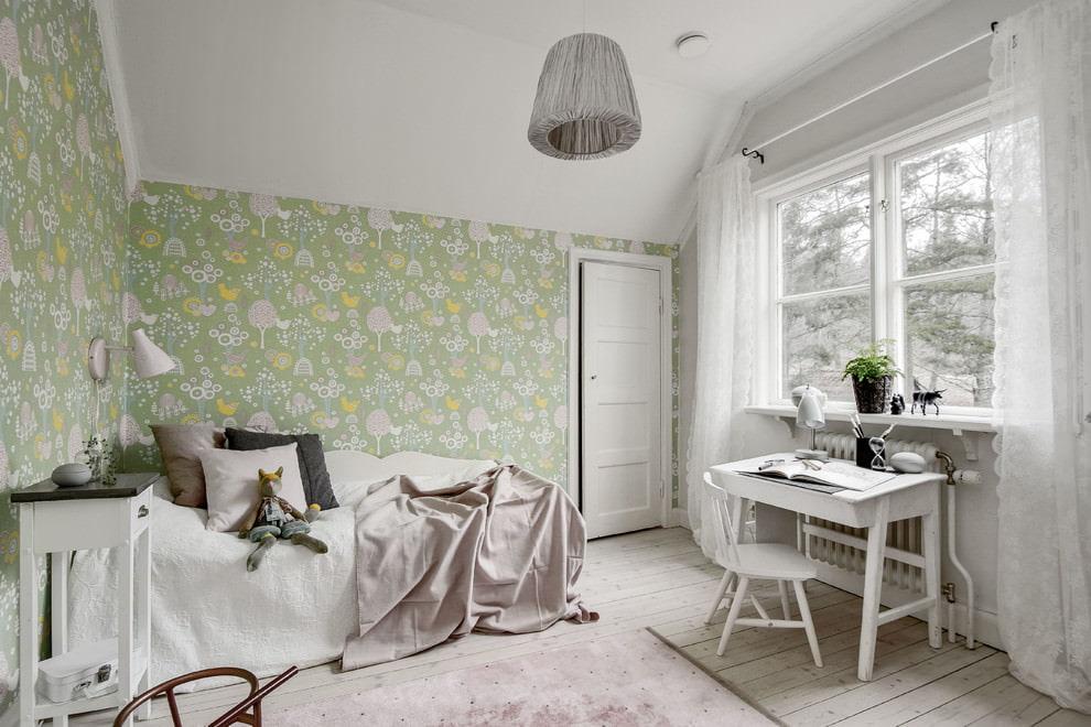 Pastel colored bedroom interior