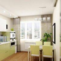 Façades vert pâle de la cuisine